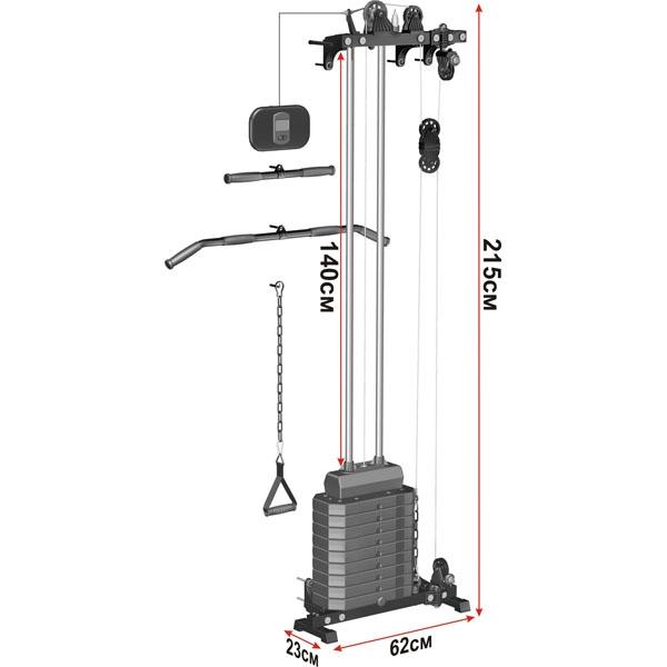 Блоковый тренажер пристенный Leco-IT Home гп044020