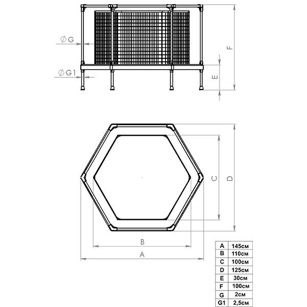 Батут-манеж Leco-IT Home диам. 135 см, гп 060004