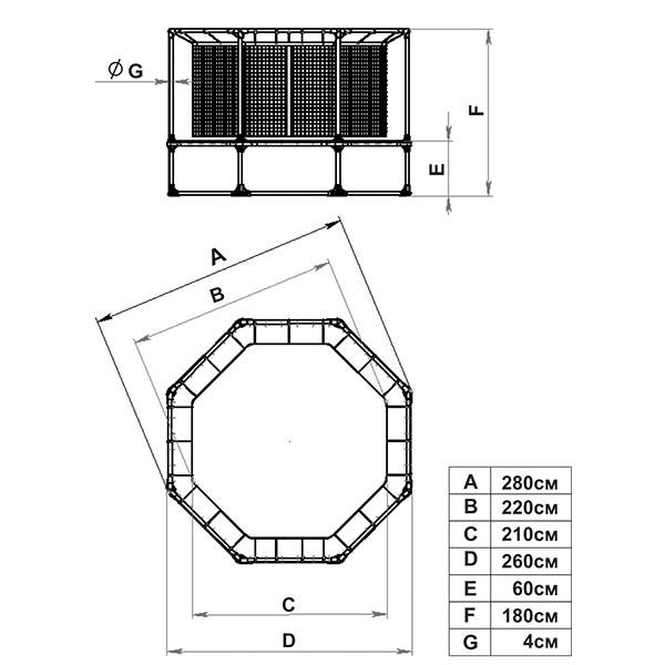 Батут Leco-IT Outdoor с ограждением диам. 270 см,гп060024